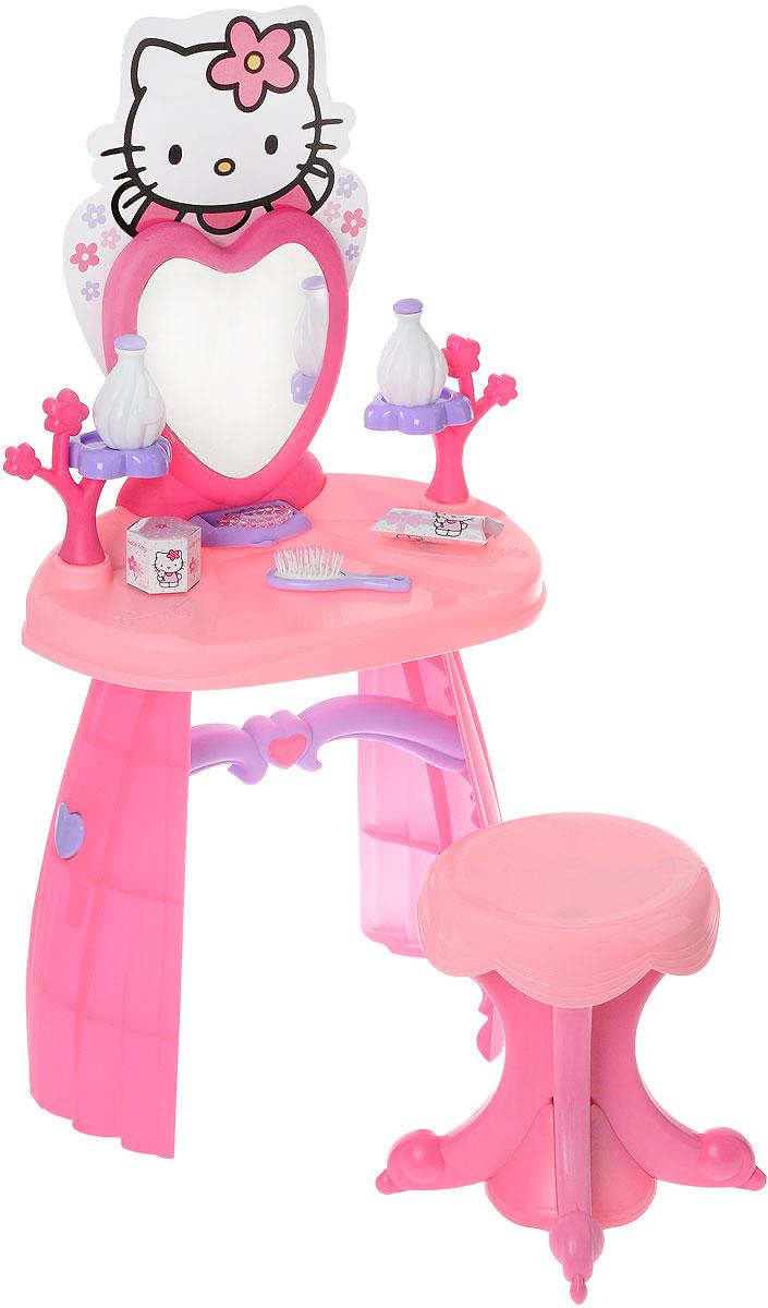 Smoby Туалетный столик со стульчиком Hello Kitty24644Туалетный столик со стульчиком Smoby Hello Kitty бесспорно понравиться юной леди. Выполнен из пластика в сиренево-розовых тонах и включает в себя элементы для сборки туалетного столика и стульчика, а также различные аксессуары (две бутылочки, расческа, браслет, две заколки для волос, две резинки для волос и другие предметы). Девочки, глядя на маму, смогут расчесывать свои волосы и делать красивые прически, ведь у них будет свой собственный туалетный столик, оформленный в стиле Hello Kitty. Зеркало расположено в верхней части столика, благодаря чему малышке будет удобно любоваться на свое отражение. Угол наклона зеркала можно регулировать по желанию. У столика предусмотрен небольшой выдвижной ящичек. В наборе имеются наклейки для украшения столика. Правильно и быстро собрать столик поможет подробная схематичная инструкция. Порадуйте вашу малышку таким замечательным набором!