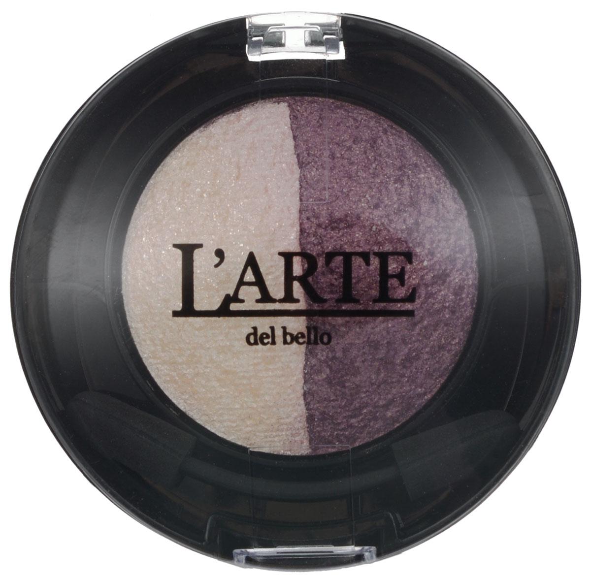 Larte del bello Тени для век Glamorous Duo, запеченные, тон 02 Герань, 2 цвета, 2 г0202При изготовлении теней от Larte del bello Glamorous Duo использовалась особая производственная технология - запекание. Она позволяет получить дополнительный блеск и сияние. Тени на час помещают в специальную печь, разогретую до 65 градусов по Цельсию. Благодаря нагреванию тени приобретают особые свойства - это особенно заметно при нанесении влажным способом. Нанесенные влажным аппликатором, они образуют плотное, выразительное, сияющее и гладкое покрытие. Плотность нанесения можно варьировать, получая оттенок любой насыщенности. Тени держатся весь день, не скатываются в складочках века. Формула обогащена Витамином Е. Без парабенов. Товар сертифицирован.