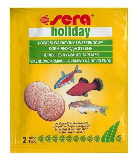Sera Holiday Корм выходного дня для рыб, не разлагается в течение 7 дней 2таб16010sera holiday - идеальный корм, предназначенный для кормления ваших рыб в ваше отсутствие! Благодаря инновационному методу производства эти высококачественные, питательные кормовые таблетки не разлагаются в воде на протяжении 7 дней.