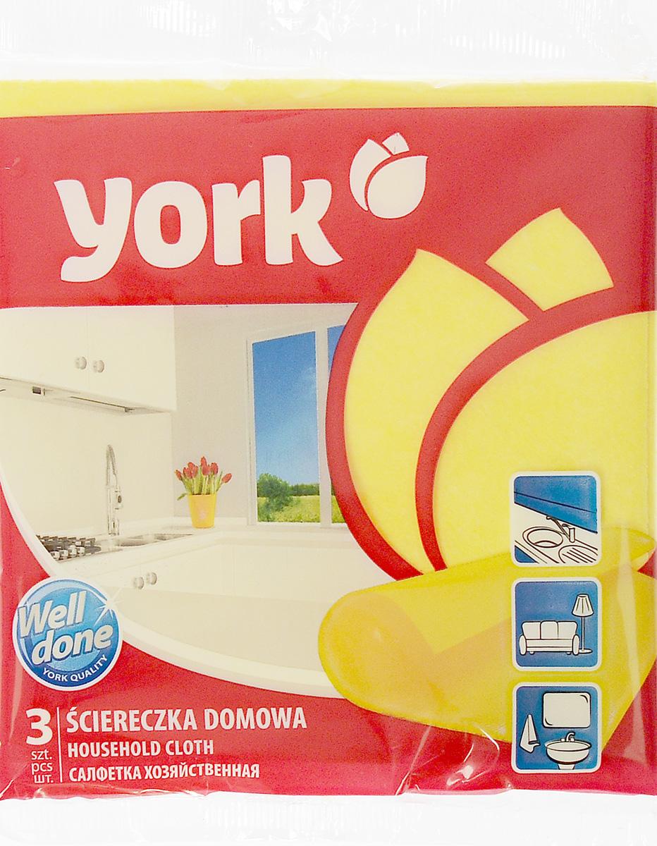 Салфетка хозяйственная York, 35 см х 35 см, 3 шт2001_желтыйСалфетка York, изготовленная из полипропиленового волокна и вискозы, предназначена для очищения загрязнений на любых поверхностях. Изделие обладает высокой износоустойчивостью и рассчитано на многократное использование, легко моется в теплой воде с мягкими чистящими средствами. Салфетка не оставляет разводов и ворсинок, удаляет большинство жирных и маслянистых загрязнений без использования химических средств.