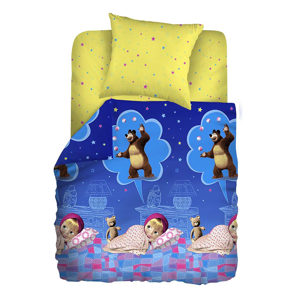 Маша и Медведь Комплект детского постельного белья Машин сон244355Комплект детского постельного белья Маша и Медведь Машин сон, состоящий из наволочки, простыни и пододеяльника, выполнен из натурального 100% хлопка. Пододеяльник оформлен рисунком в виде героев из мультфильма Маша и Медведь. Хлопок - это натуральный материал, который не раздражает даже самую нежную и чувствительную кожу малыша, не вызывает аллергии и хорошо вентилируется. Такой комплект идеально подойдет для кроватки вашего малыша. На нем ребенок будет спать здоровым и крепким сном.