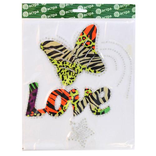 Термоаппликация Hobby&Pro Love бабочка, 22 см х 25 см7713735Термоаппликация Hobby&Pro Love бабочка изготовлена из текстиля, украшенного ярким разноцветным звериным принтом, и оформлена сверкающими стразами. Термоаппликация с обратной стороны оснащена клеевым слоем, благодаря которому при помощи утюга вы сможете быстро и легко закрепить изделие на ткани. С такой термоаппликацией любая вещь станет особенной.