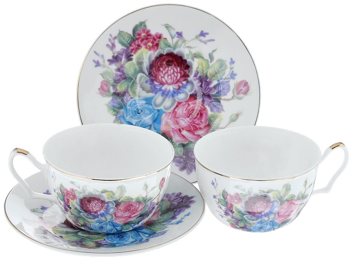 Набор чайный Loraine Фиалки, 4 предмета24598Чайный набор Loraine Фиалки состоит из 2 чашек и 2 блюдец. Изделия, выполненные из высококачественной керамики, имеют элегантный дизайн и классическую круглую форму. Такой набор прекрасно подойдет как для повседневного использования, так и для праздников. Чайный набор Loraine Фиалки - это не только яркий и полезный подарок для родных и близких, это также великолепное дизайнерское решение для вашей кухни или столовой. Объем чашки: 250 мл. Диаметр чашки (по верхнему краю): 9,5 см. Высота чашки: 6,2 см. Диаметр блюдца (по верхнему краю): 15 см. Высота блюдца: 2,2 см.