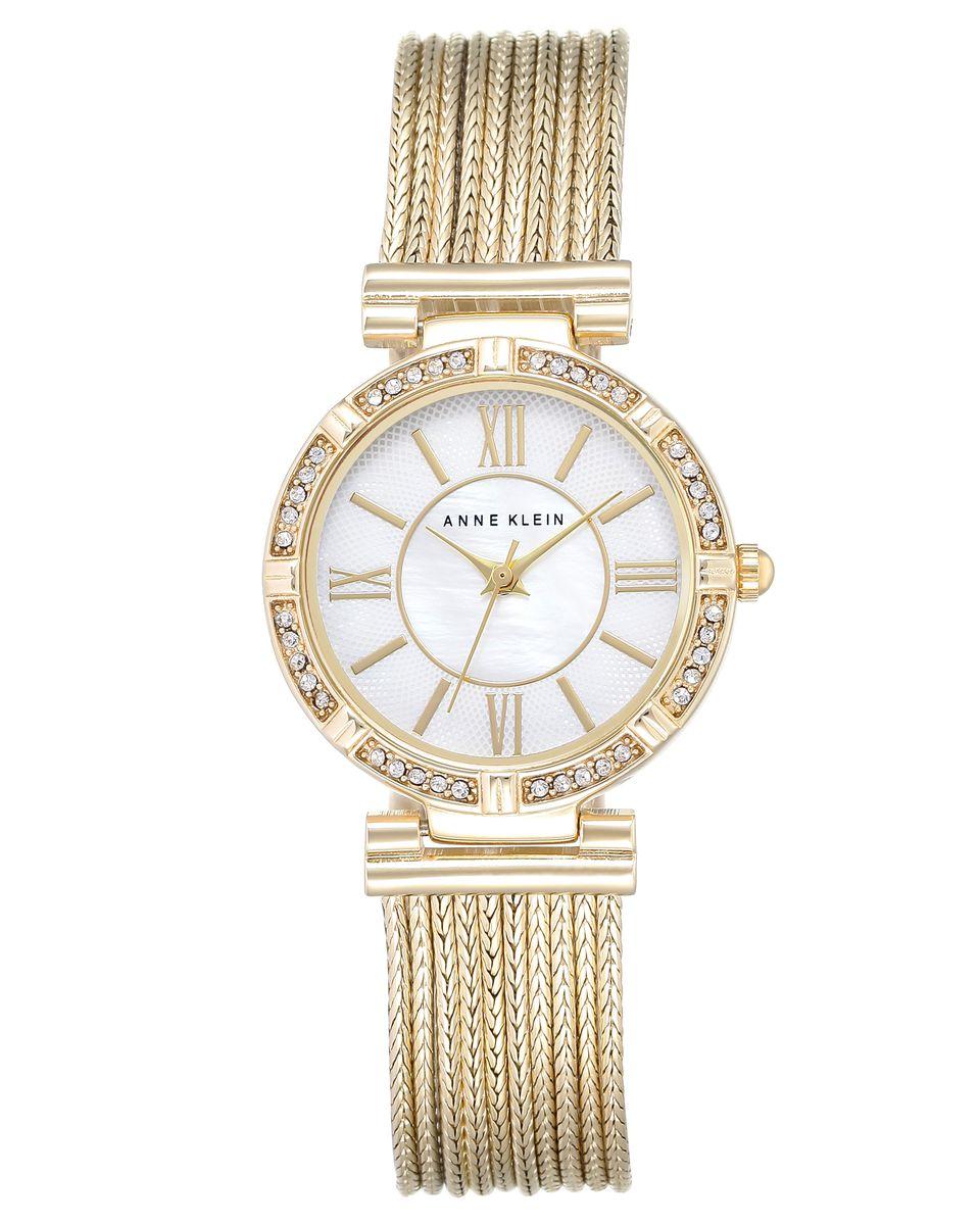 Наручные часы женские Anne Klein, цвет: золотой, белый. 2144 MPGB2144 MPGBКорпус 28мм, циферблат- натуральный перламутр, безель украшен кристаллами Swarovski, браслет выполнен из 9 цепей с PVD покрытием золотистого цвета, водозащита- 3 АТМ
