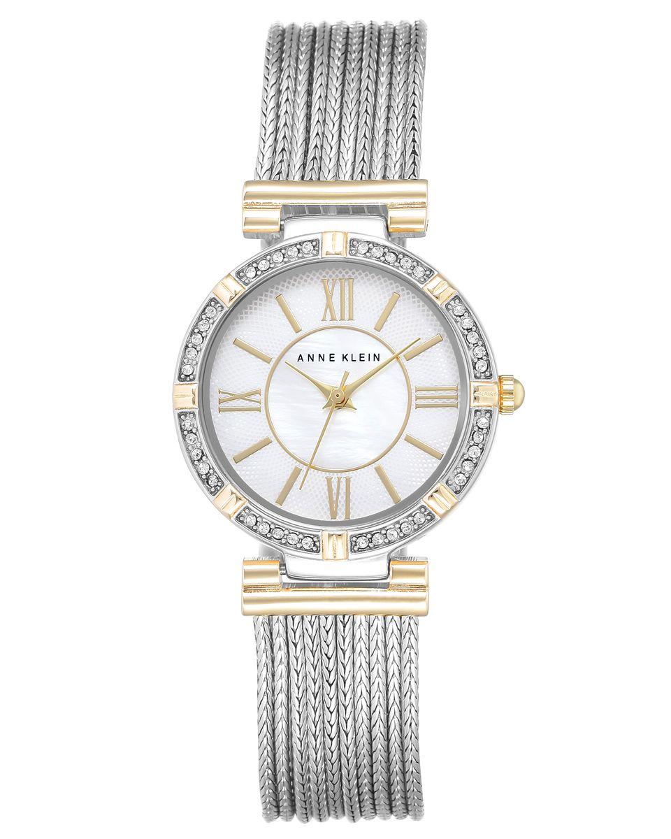 Наручные часы женские Anne Klein, цвет: серый, белый. 2145 MPTT2145 MPTTКорпус 28мм, циферблат- натуральный перламутр, безель украшен кристаллами Swarovski, браслет выполнен из 9 цепей с PVD покрытием биколор, водозащита- 3 АТМ