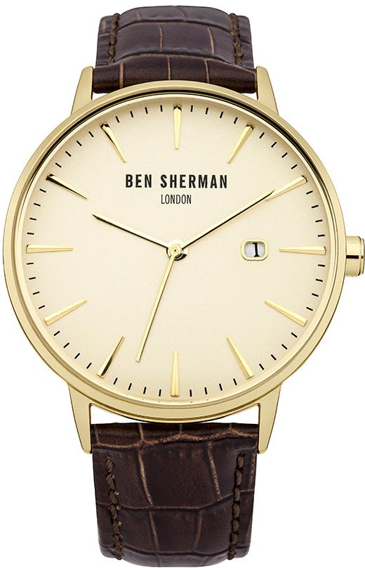 Часы наручные мужские Веn Sherman, цвет: золотой, коричневый. WB001BRWB001BRСтильные мужские часы Веn Sherman, выполнены из нержавеющей стали, натуральной кожи с тиснением под рептилию и минерального стекла. Циферблат часов дополнен символикой бренда. Часы оснащены кварцевым механизмом, имеют степень влагозащиты равную 3 atm, а также дополнены устойчивым к царапинам минеральным стеклом и индикатором даты. Ремешок часов оснащен классической пряжкой, которая позволит с легкостью снимать и надевать изделие. Часы поставляются в фирменной упаковке. Часы Веn Sherman подчеркнут отменное чувство стиля своего обладателя.