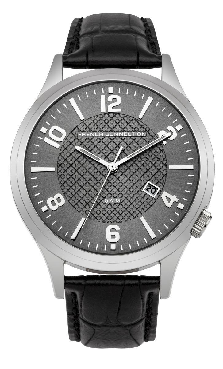 Часы наручные мужские French Connection, цвет: серый, черный, серебряный. FC1260BBFC1260BBСтильные мужские часы French Connection, выполнены из металлического сплава, натуральной кожи с тиснением под рептилию и минерального стекла. Циферблат часов дополнен символикой бренда. Часы оснащены кварцевым механизмом, имеют степень влагозащиты равную 5 atm, а также дополнены устойчивым к царапинам минеральным стеклом и индикатором даты. Стрелки часов дополнены светящимся составом. Ремешок часов оснащен классической пряжкой, которая позволит с легкостью снимать и надевать изделие. Часы поставляются в фирменной упаковке. Часы French Connection подчеркнут отменное чувство стиля своего обладателя.