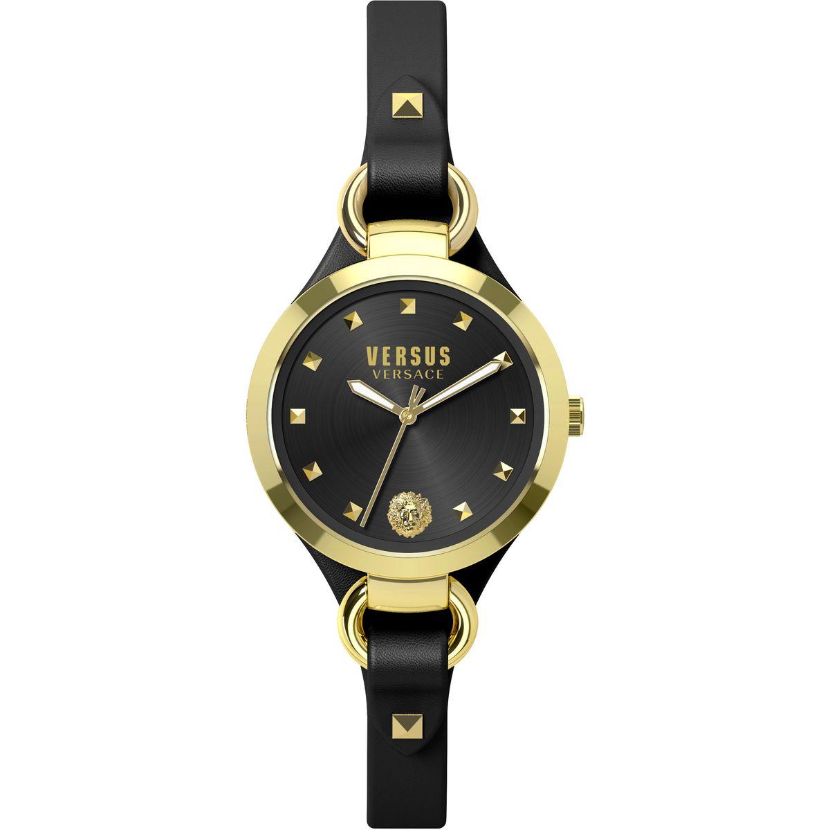 Наручные часы женские Versus Versace, цвет: золотой. SOM05 0015SOM05 00153 стрелки, механизм кварцевый Citizen_2025, сталь, диаметр циферблата 34 мм, кожаный ремешок, застежка из стали, стекло минеральное, водонепроницаемость - 3 АТМ