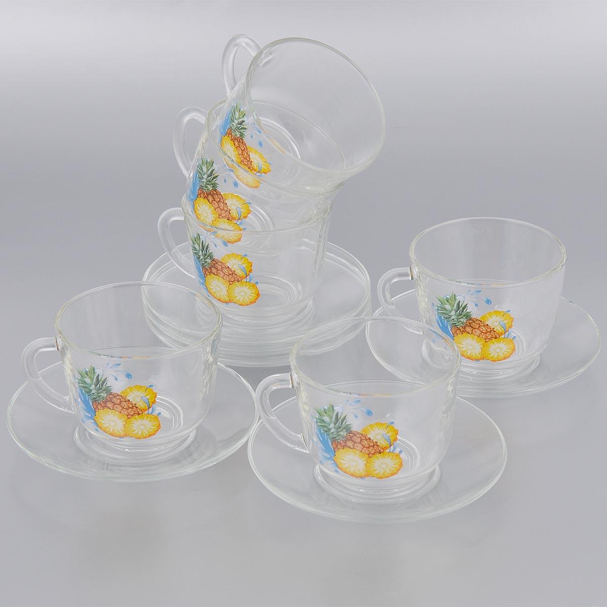 Набор чайный OSZ Одиссея, цвет: прозрачный, желтый, голубой,12 предметов08с1349,07С1337ДЗУАНКЧайный набор OSZ Одиссея состоит из шести чашек и шести блюдец. Все предметы набора выполнены из высококачественного натрий-кальций-силикатного стекла. Чашки оснащены удобными ручками и оформлены ярким изображением фруктов. Изящный набор эффектно украсит стол к чаепитию и порадует вас функциональностью и современным дизайном. Объем чашки: 200 мл. Диаметр (по верхнему краю): 8,5 см. Высота чашки: 7 см. Диаметр блюдца (по верхнему краю): 13 см. Высота блюдца: 1,5 см.