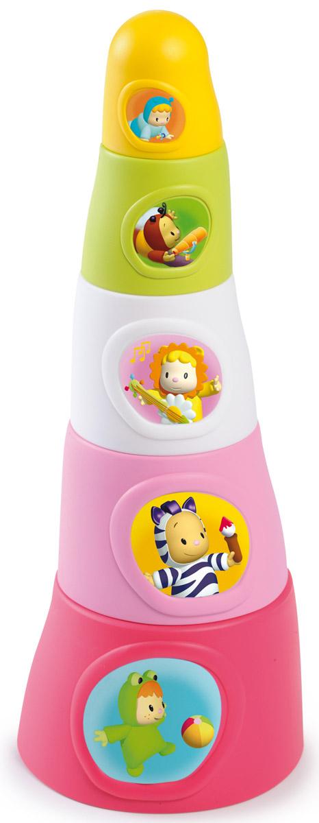 Smoby Пирамидка Happy Tower цвет розовый211322_2Замечательная яркая пирамидка Happy Tower непременно привлечет внимание малыша. Пирамидка состоит из пяти элементов разных цветов, на каждом элементе наклейка с яркой картинкой. Все элементы можно сложить в высокую башню. С такими игрушками малышу будет интересно как дома, так и играя в песочнице или зачерпывая воду в ванной. Играя в пирамидку, малыш развивает понимание форм, различие цветов, понимание последовательности действий.
