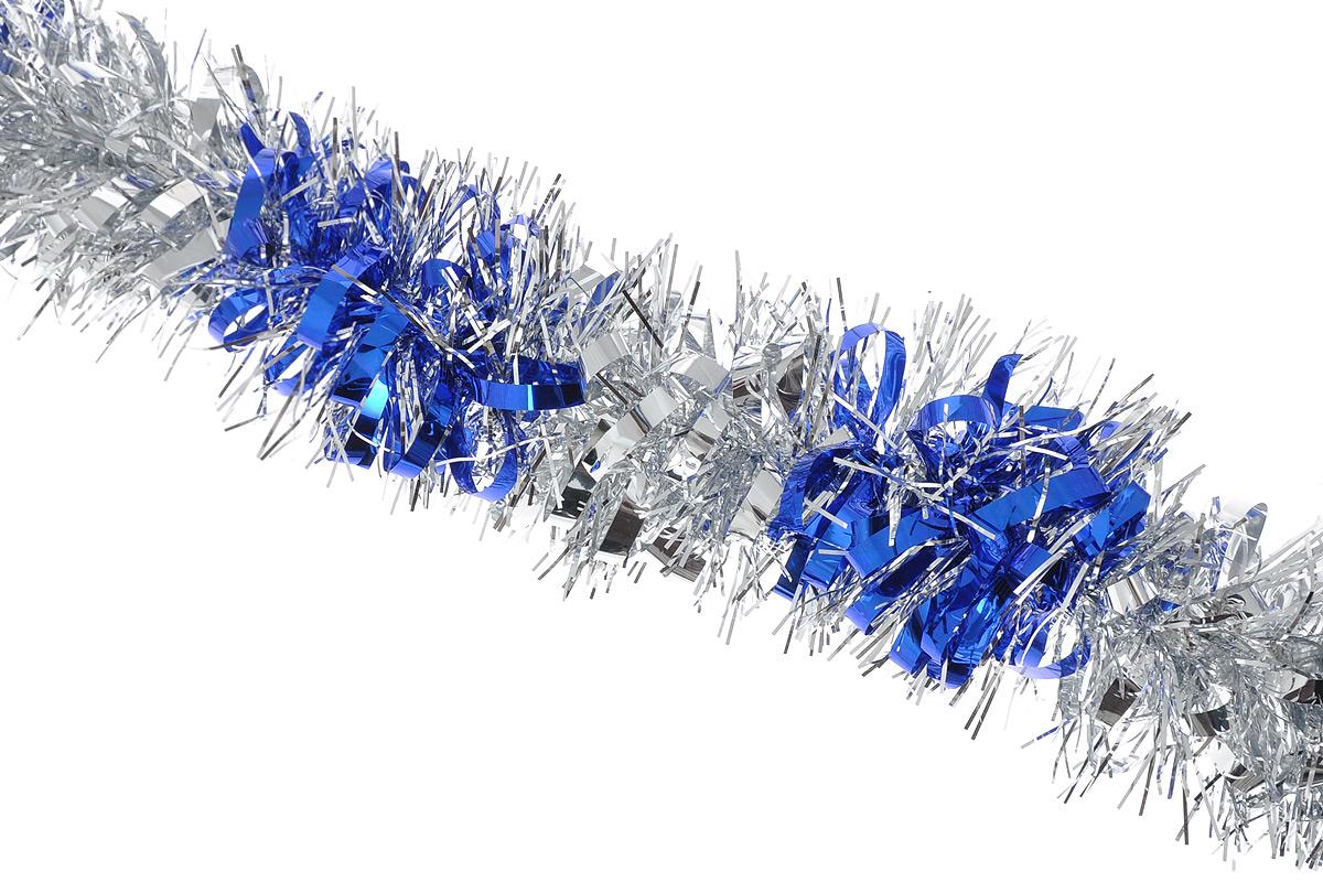 Мишура новогодняя Sima-land, цвет: серебристый, синий, диаметр 8 см, длина 200 см. 702578702578_серебристый, синийМишура новогодняя Sima-land, выполненная из двухцветной фольги, поможет вам украсить свой дом к предстоящим праздникам. Мишура армирована, то есть имеет проволоку внутри и способна сохранять приданную ей форму. Новогодняя елка с таким украшением станет еще наряднее. Новогодней мишурой можно украсить все, что угодно - елку, квартиру, дачу, офис - как внутри, так и снаружи. Можно сложить новогодние поздравления, буквы и цифры, мишурой можно украсить и дополнить гирлянды, можно выделить дверные колонны, оплести дверные проемы. Коллекция декоративных украшений из серии Зимнее волшебство принесет в ваш дом ни с чем несравнимое ощущение праздника! Создайте в своем доме атмосферу тепла, веселья и радости, украшая его всей семьей.