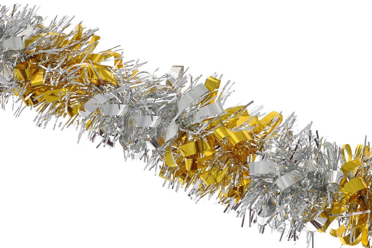 Мишура новогодняя Sima-land, цвет: серебристый, желтый, диаметр 8 см, длина 200 см. 702578702578_серебристый, желтыйМишура новогодняя Sima-land, выполненная из двухцветной фольги, поможет вам украсить свой дом к предстоящим праздникам. Мишура армирована, то есть имеет проволоку внутри и способна сохранять приданную ей форму. Новогодняя елка с таким украшением станет еще наряднее. Новогодней мишурой можно украсить все, что угодно - елку, квартиру, дачу, офис - как внутри, так и снаружи. Можно сложить новогодние поздравления, буквы и цифры, мишурой можно украсить и дополнить гирлянды, можно выделить дверные колонны, оплести дверные проемы. Коллекция декоративных украшений из серии Зимнее волшебство принесет в ваш дом ни с чем несравнимое ощущение праздника! Создайте в своем доме атмосферу тепла, веселья и радости, украшая его всей семьей.