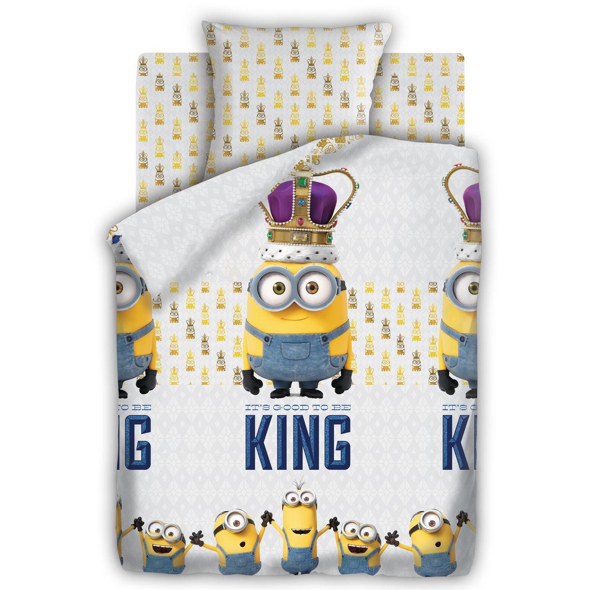 Миньоны Комплект постельного белья детский Кинг 1,5-спальный наволочка 70х70327030