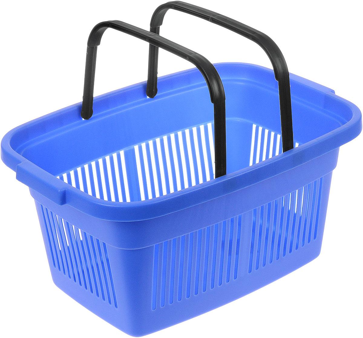 Корзинка для покупок Curver, с ручками, цвет: синий, черный, 47 см х 33 см х 22,5 см2686_синийПрактичная и вместительная корзинка для покупок Curver, изготовленная из высококачественного цветного пластика, успешно заменит любые одноразовые авоськи или пакеты. Изделие оснащено двумя удобными складными ручками. Благодаря жесткой форме, прекрасно подходит для переноски тяжелых продуктов.