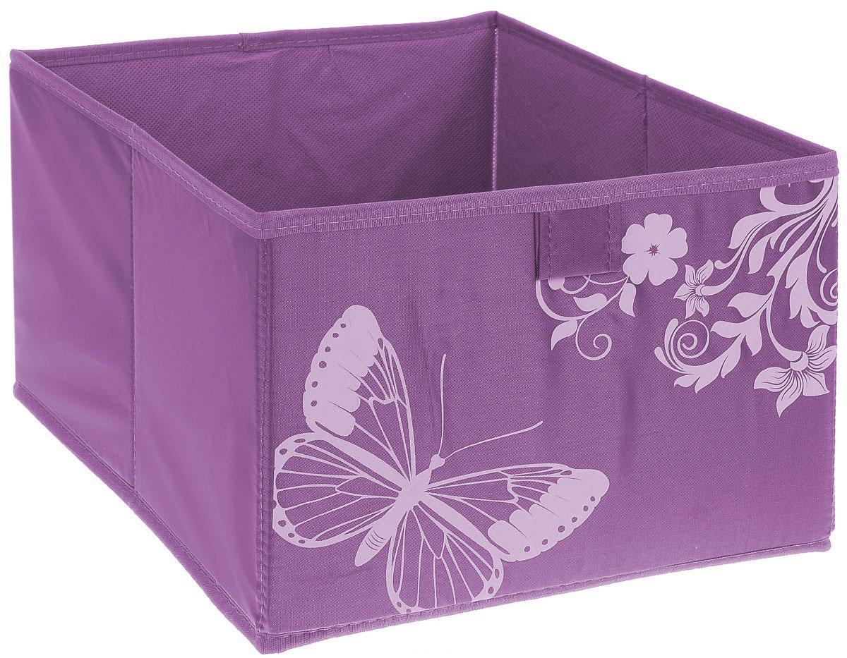 Коробка для хранения Hausmann Butterfly, цвет: фиолетовый, розовый, 28 х 27 х 20 см4P-106-4С_фиолетовыйКоробка для хранения Hausmann поможет легко организовать пространство в шкафу или в гардеробе. Изделие выполнено из нетканого материала и полиэстера. Коробка держит форму благодаря жесткой вставке из картона, которая устанавливается на дно. Боковая поверхность оформлена красивым принтом и изображением бабочки. В такой коробке удобно хранить одежду, нижнее белье, различные аксессуары.