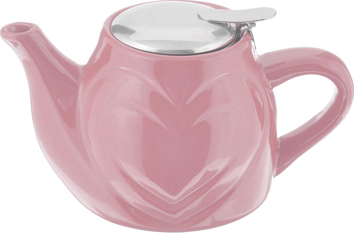 Чайник заварочный Loraine, с фильтром, цвет: розовый, 500 мл23058_розовыйЗаварочный чайник Loraine изготовлен из высококачественной керамики и нержавеющей стали. Изделие оснащено фильтром, благодаря которому задерживает чаинки и предотвращает попадание их в чашку.Глянцевый корпус обеспечивает легкую очистку. Чайник поможет заварить крепкий ароматный чай и великолепно украсит стол к чаепитию. Диаметр чайника (по верхнему краю): 7,5 см. Высота чайника (без учета крышки): 10,5 см. Высота фильтра: 6 см.