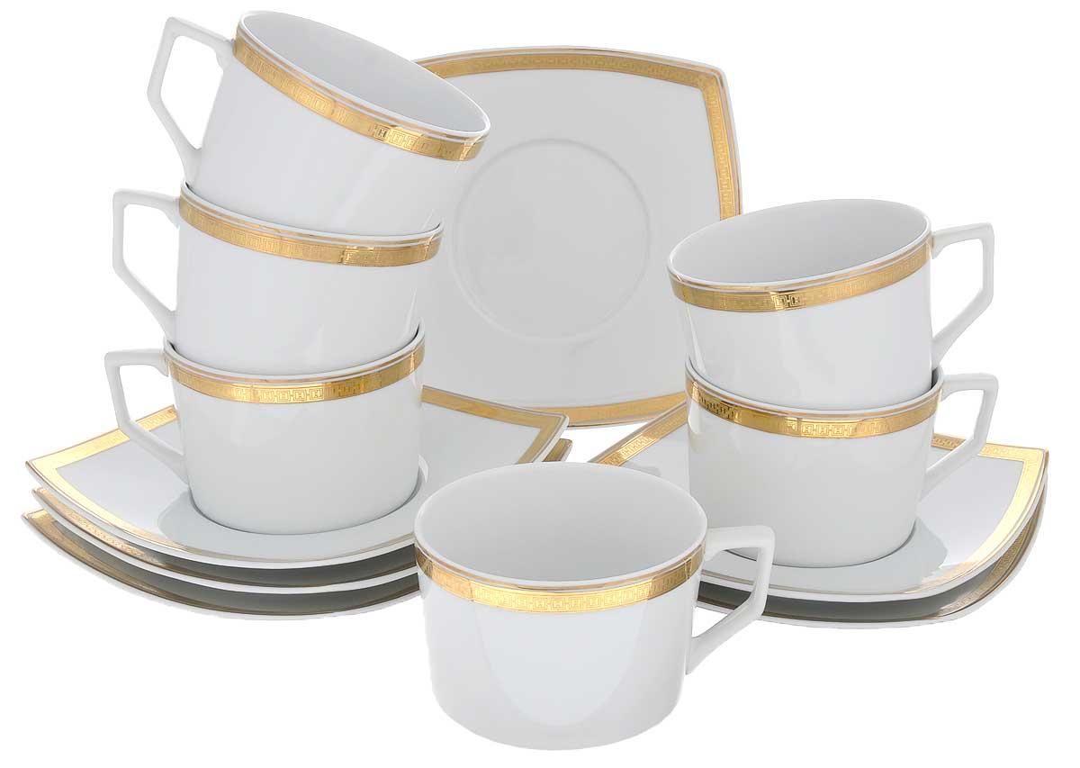 Набор чайный Yves De La Rosiere Kyoto, цвет: белый, золотистый, 12 предметов719506 1555Чайный набор Yves De La Rosiere Kyoto состоит из шести чашек и шести блюдец, оформленных золотистой каймой. Предметы набора изготовлены из высококачественного фарфора. Изящный дизайн придется по вкусу и ценителям классики, и тем, кто предпочитает утонченность и изысканность. Он настроит на праздничный лад и подарит хорошее настроение с самого утра. Чайный набор - идеальный и необходимый подарок для вашего дома и для ваших друзей в праздники, юбилеи и торжества! Он также станет отличным корпоративным подарком и украшением любой кухни. Объем чашки: 220 мл. Диаметр чашки (по верхнему краю): 9 см. Высота чашки: 6 см. Размер блюдца: 15,5 см х 15,5 см. Высота блюдца: 2,5 см.