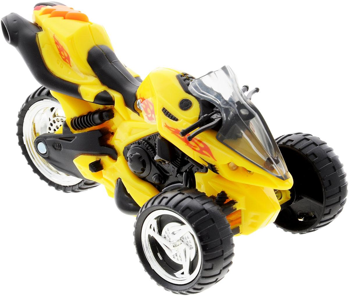 Toystate Мотоцикл цвет желтый33000TS_желтыйМотоцикл Toystate непременно понравится любому маленькому гонщику. Выполнен из прочного безопасного пластика с элементами металла. Мотоцикл оснащен тремя колесами со свободным ходом. При нажатии на кнопу, расположенную на сиденье, воспроизводятся различные звуки, а также загораются фары. Яркий, реалистичный, выполненный с вниманием к деталям, станет отличным дополнением к автопарку вашего малыша! Ваш ребенок часами будет играть с такой игрушкой, придумывая различные истории и устраивая соревнования. Порадуйте его таким замечательным подарком! Рекомендуется докупить 2 батарейки типа LR44 (товар комплектуется демонстрационными).