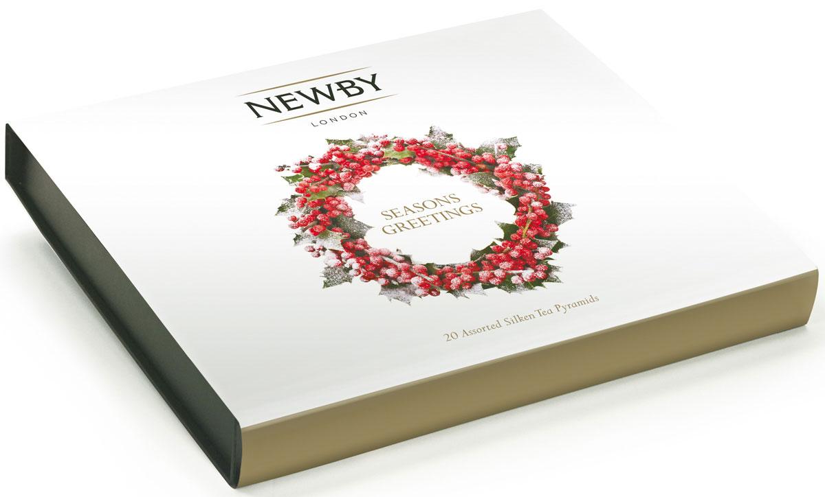 Newby Seasons Greetings подарочный набор листового чая в пирамидках (4 вкуса), 20 шт899001Набор Newby Seasons Greetings упакован в подарочную картонную коробку в картонном рукаве с тисненым логотипом на крышке. Подарочная упаковка содержит 4 вида крупнолистового чая в пирамидках - прекрасный подарок к новогодним праздникам. Наполнение по 5 пирамидок каждого вида чая: Английский Завтрак: купаж черных сортов чая из Ассама, Цейлона и Кении. Чашка насыщенного янтарного цвета идеальна для начала дня Эрл Грей: насыщенный черный чай, яркий настой с натуральным ароматом и цитрусовым вкусом спелого бергамота Масала Чай: черный чай Ассам и ароматные специи собраны в гармоничный букет, дающий богатый солодовый настой с острыми пряными нотами Жасминовая Принцесса: светло-медовый настой с изысканным ароматом жасмина. Вкус мягкий, деликатный, с цветочными нотками и сладким послевкусием