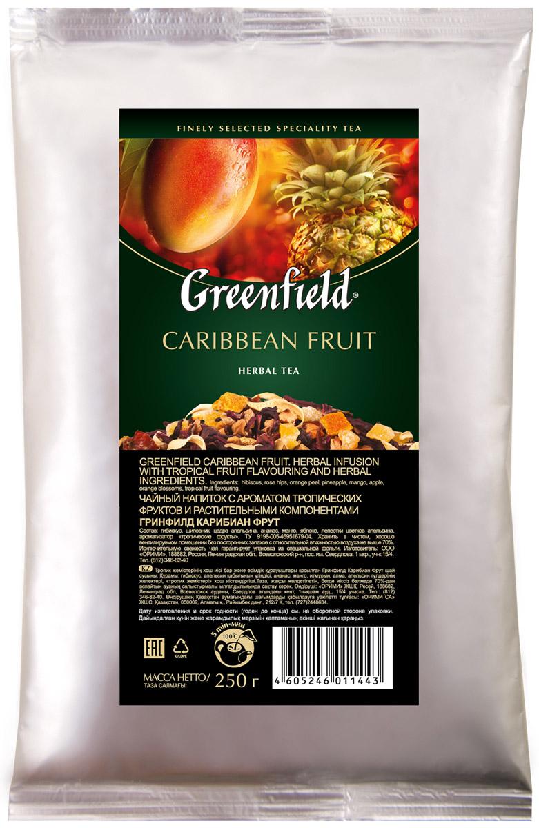 Greenfield Caribbean Fruit фруктовый листовой чай, 250 г1144-15Нежное дыхание цветов апельсина в ореоле легкой сладости спелого манго и характерной кислинки гибискуса подчеркивает выразительность глубокого аромата Greenfield Caribbean Fruit. Солнечная свежесть цитрусовых, пикантные оттенки сочного ананаса и мягкие ноты шиповника завершают великолепное равновесие вкусовой гаммы, в которой каждый оттенок неповторим и точен.
