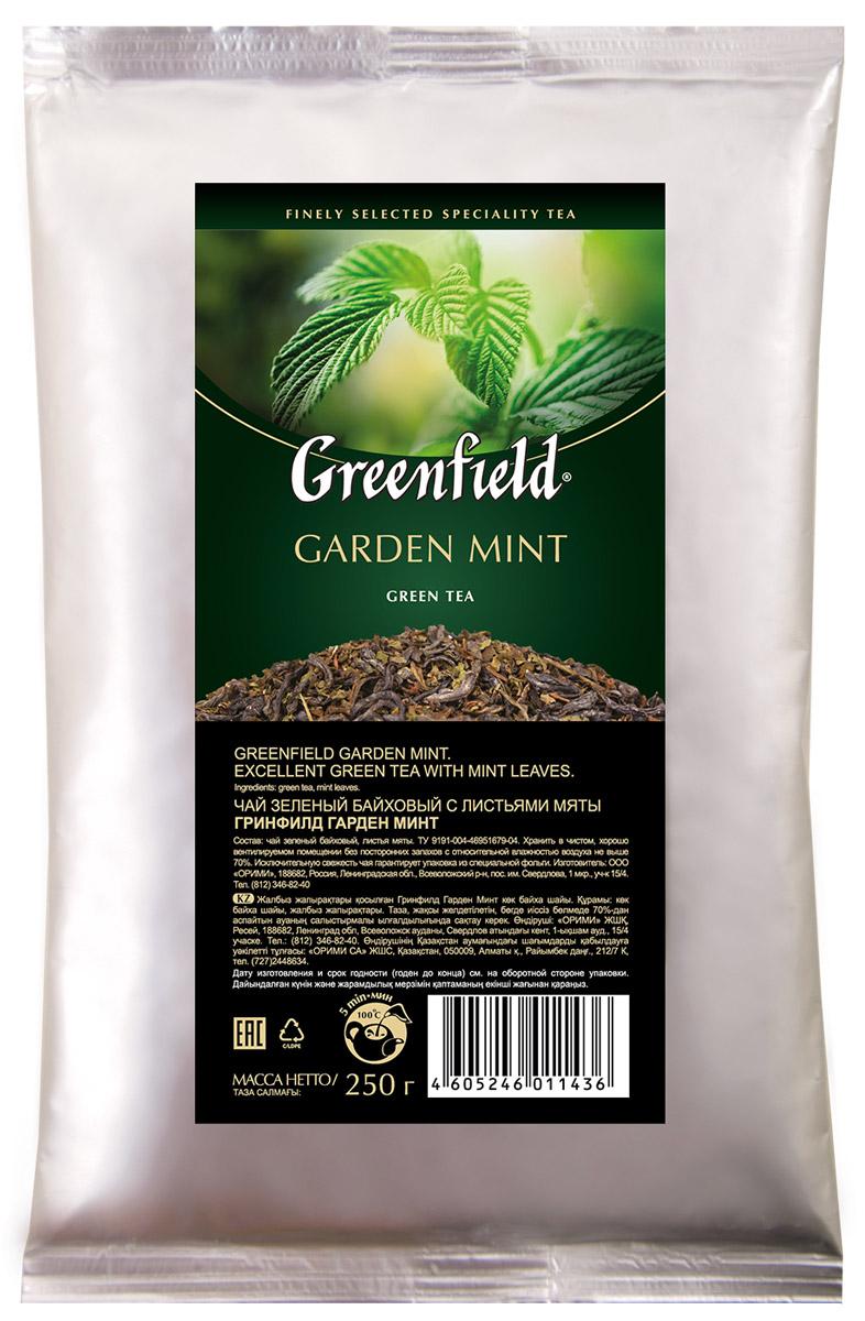 Greenfield Garden Mint зеленый листовой чай с мятой, 250 г1143-15В Greenfield Garden Mint зеленый чай из провинции Хуннань превосходно сочетается со сладостью садовой мятой. Композиция открывает гармонию в контрасте вкуса, который можно охарактеризовать как освежающий, сладкий и нежный.