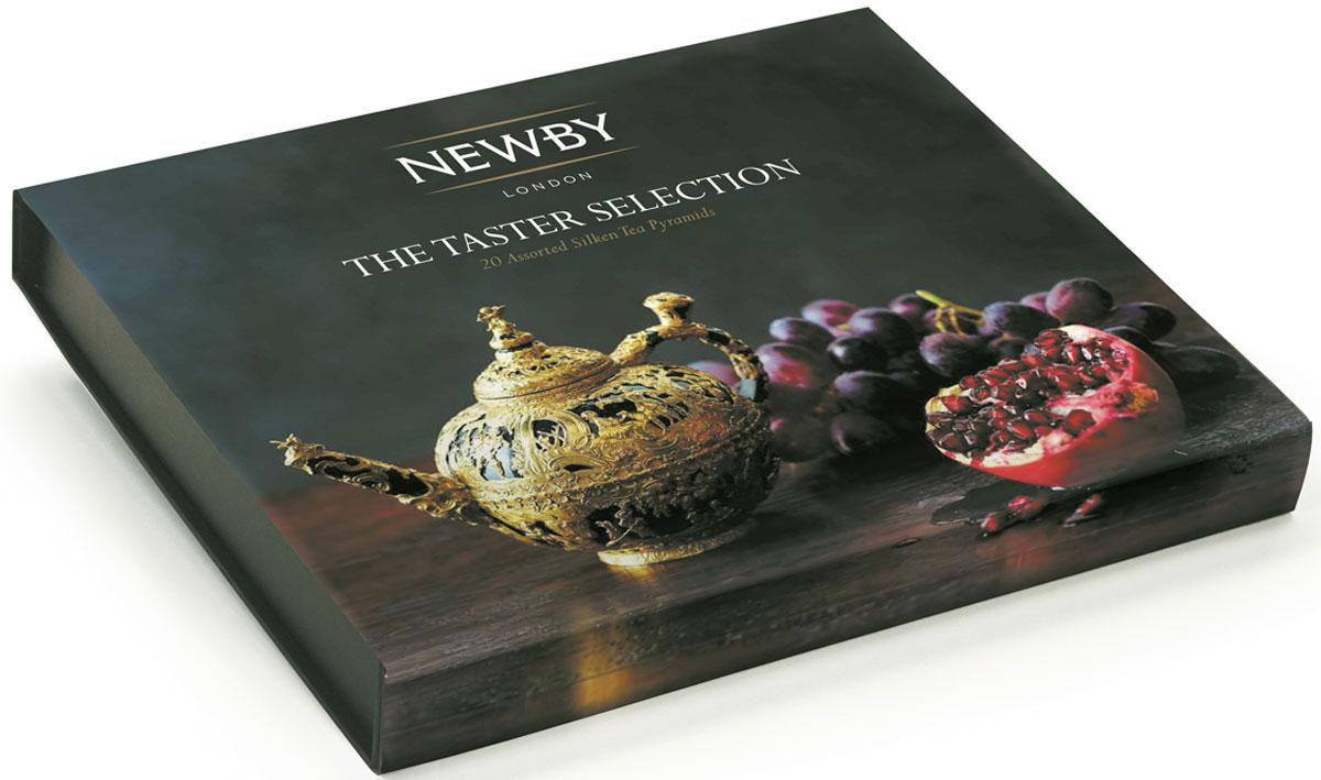 Newby The Taster Selection подарочный набор листового чая в пирамидках (4 вкуса), 20 шт899004Набор Newby The Taster Selection упакован в подарочную картонную коробку в картонном рукаве с тисненым логотипом на крышке. Подарочная упаковка содержит 4 вида крупнолистового чая в пирамидках - прекрасный подарок к новогодним праздникам. Наполнение по 5 пирамидок каждого вида чая: Английский Завтрак: купаж черных сортов чая из Ассама, Цейлона и Кении. Чашка насыщенного янтарного цвета идеальна для начала дня Эрл Грей: насыщенный черный чай, яркий настой с натуральным ароматом и цитрусовым вкусом спелого бергамота Масала Чай: черный чай Ассам и ароматные специи собраны в гармоничный букет, дающий богатый солодовый настой с острыми пряными нотами Жасминовая Принцесса: светло-медовый настой с изысканным ароматом жасмина. Вкус мягкий, деликатный, с цветочными нотками и сладким послевкусием