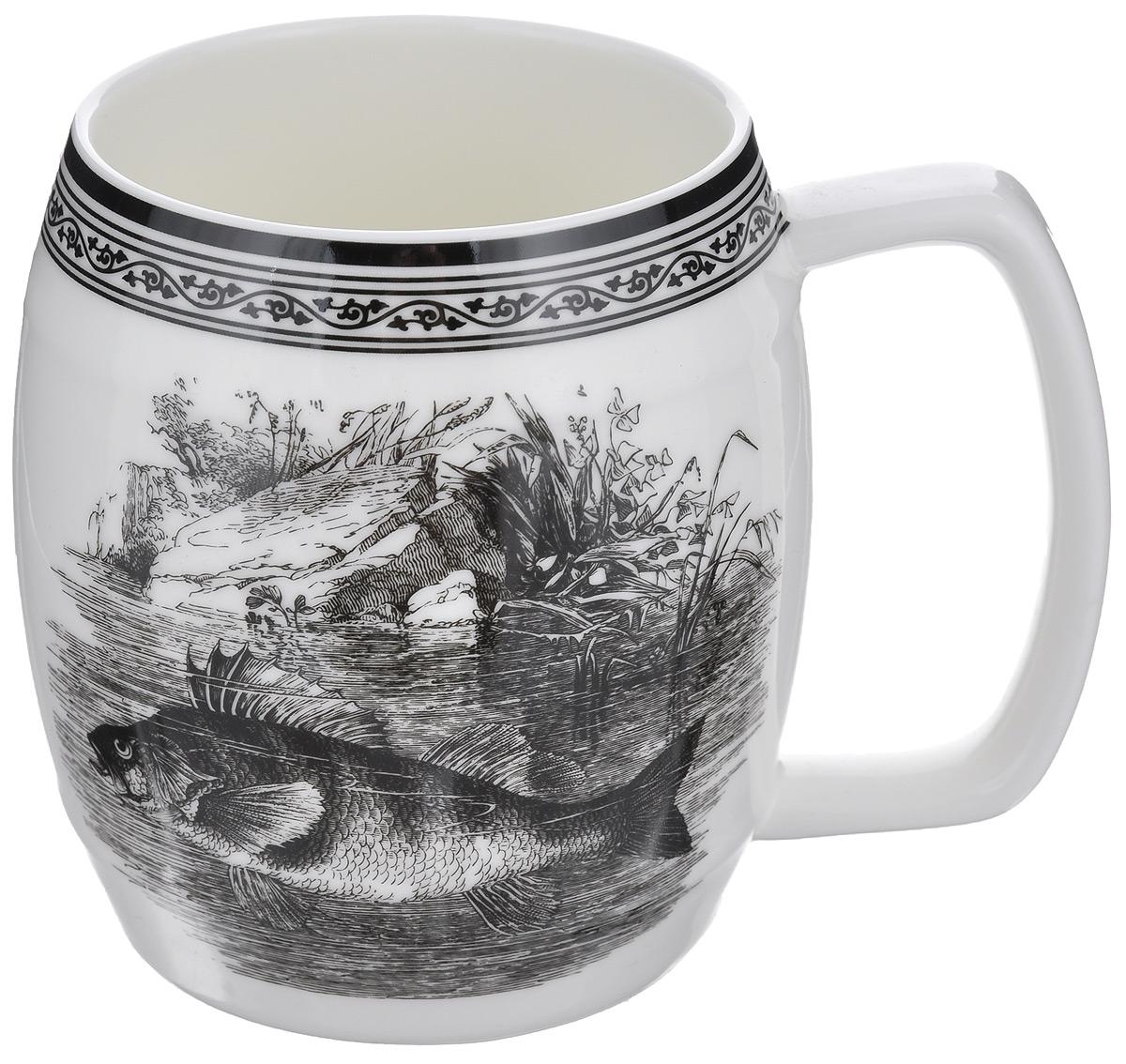 Кружка пивная Elan Gallery Удачная рыбалка, 700 мл530020Большая кружка Elan Gallery Удачная рыбалка, выполненная из керамики, станет оригинальным подарком любимым мужчинам! Идеальна для тех, кто предпочитает большие кружки, и для любителей чая, кофе и пенных напитков. Не рекомендуется применять абразивные моющие средства. Не использовать в микроволновой печи.