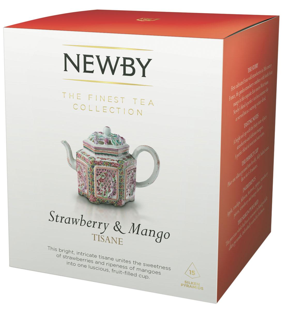Newby Strawberry & Mango (infusion) фруктовый напиток в пирамидках, 15 шт600940ANewby Strawberry & Mango - вкуснейший фруктовый напиток. Мягкий вкус тропических фруктов с легкой кислинкой летних ягод и ароматом спелого манго. Каждая пирамидка упакована в индивидуальное саше из алюминиевой фольги для сохранения свежести ингредиентов.