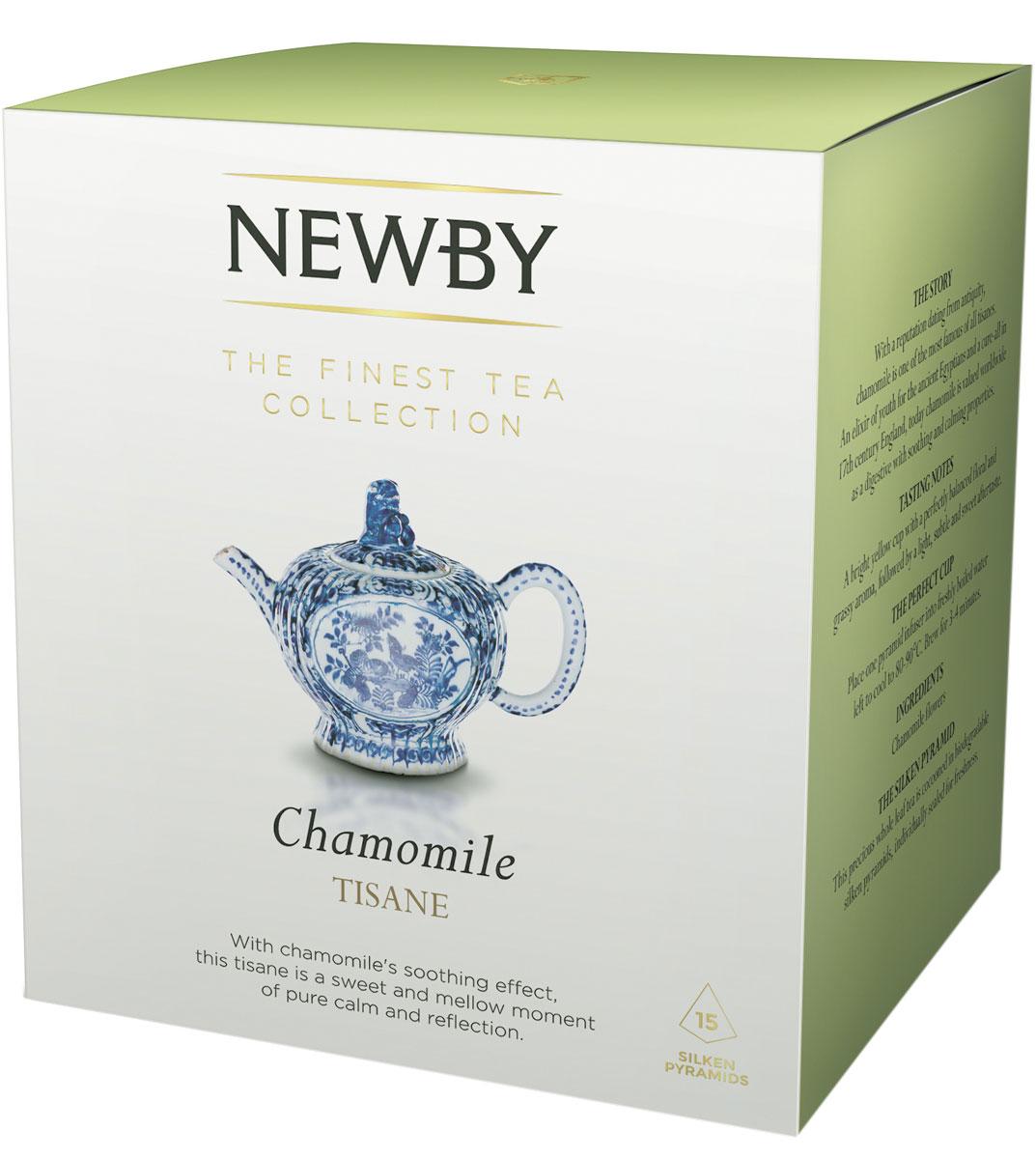 Newby Chamomile травяной чай в пирамидках, 15 шт600150ANewby Chamomile - успокаивающий травяной чай из цельных цветов ромашки. Настой с ароматом луга и послевкусием сушеных яблок. Каждая пирамидка упакована в индивидуальное саше из алюминиевой фольги для сохранения свежести чайного листа.
