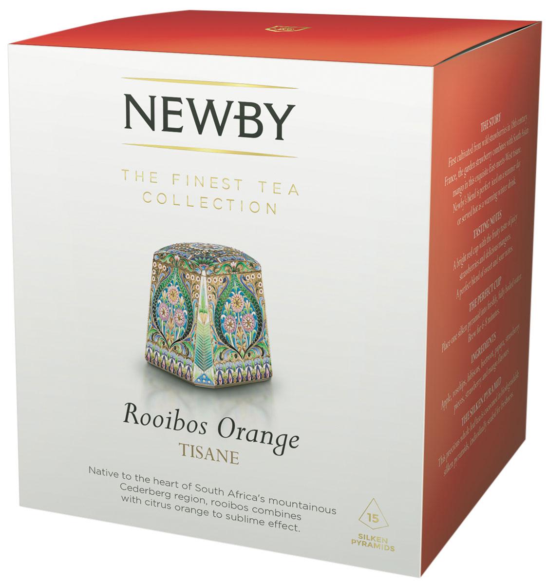 Newby Roiboos Orange травяной чай в пирамидках, 15 шт601220ANewby Roiboos Orange с цедрой апельсина дает мягкий настой ярко-оранжевого цвета с фруктово-цитрусовыми нотками. Каждая пирамидка упакована в индивидуальное саше из алюминиевой фольги для сохранения свежести ингредиентов.