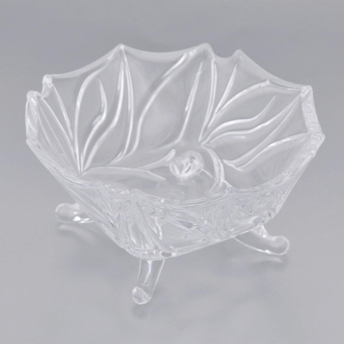 Конфетница Elan Gallery Цветочный узор, диаметр 13 см890098Оригинальная конфетница Elan Gallery Цветочный узор, изготовленная из прочного стекла, имеет многогранную рельефную поверхность в виде объемных цветочных узоров. Конфетница оснащена изящными ножками. Изделие предназначено для подачи сладостей (конфет, сахара, меда, изюма, орехов и многого другого). Она придает легкость, воздушность сервировке стола и создаст особую атмосферу праздника. Конфетница Elan Gallery Цветочный узор не только украсит ваш кухонный стол и подчеркнет прекрасный вкус хозяина, но и станет отличным подарком для ваших близких и друзей. Диаметр конфетницы (по верхнему краю): 13 см. Высота конфетницы: 6 см.