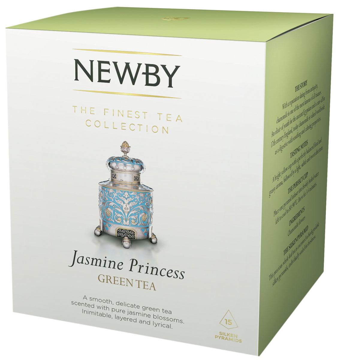 Newby Jasmine Princes зеленый чай в пирамидках, 15 шт600300AЧай Newby Jasmine Princes - это скрученные вручную из нежных типсов жемчужины зеленого чая, ароматизированные свежими цветами жасмина. Каждая пирамидка упакована в индивидуальное саше из алюминиевой фольги для сохранения свежести чайного листа.
