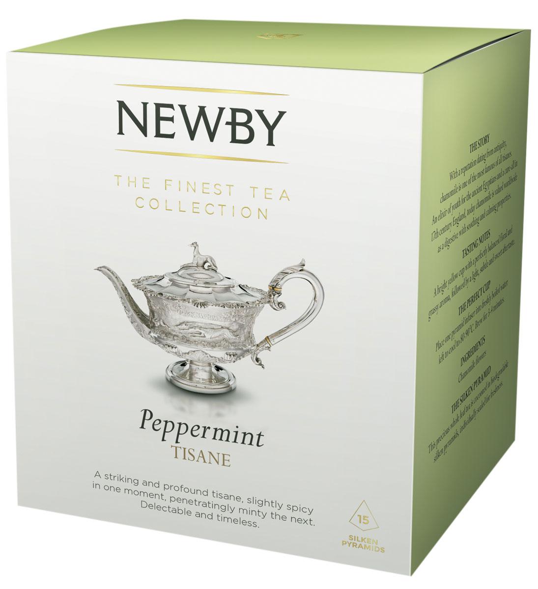 Newby Peppermint травяной чай в пирамидках, 15 шт600140ANewby Peppermint - освежающий травяной чай из листьев перечной мяты. Чашка благоухает пряным мятным вкусом. Каждая пирамидка упакована в индивидуальное саше из алюминиевой фольги для сохранения свежести ингредиентов.