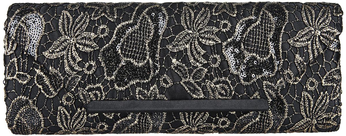 Клатч женский Eleganzza, цвет: черный, золотистый. ZZ-13288ZZ-13288Стильный женский клатч Eleganzza, выполненный из полиэстера, оформлен декоративным плетением с цветочным принтом и пайетками. Изделие имеет одно основное отделение, внутри которого имеется открытый накладной карман. Закрывается клатч на клапан с магнитной кнопкой. Модель оснащена плечевым ремнем в виде цепочки. Роскошный клатч внесет элегантные нотки в ваш образ и подчеркнет ваше отменное чувство стиля.