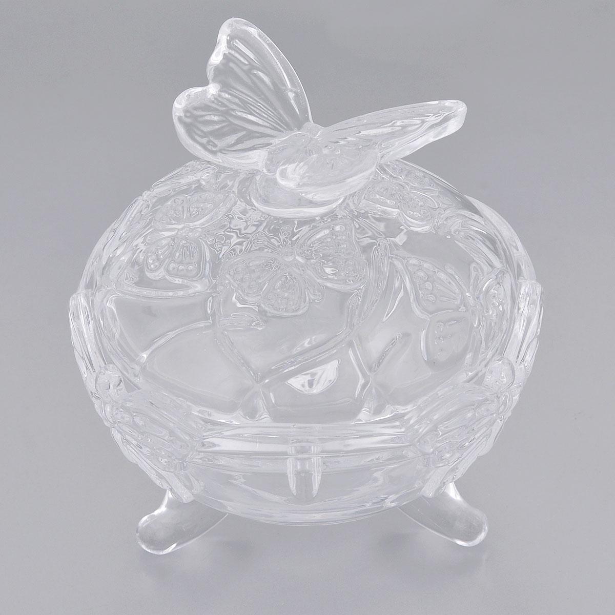 Конфетница Elan Gallery Бабочки, с крышкой, диаметр 10,5 см890114Элегантная конфетница Elan Gallery Бабочки, изготовленная из прочного стекла, имеет многогранную рельефную поверхность в виде бабочек. Конфетница оснащена ножками и крышкой с удобной ручкой. Изделие предназначено для подачи сладостей (конфет, сахара, меда, изюма, орехов и многого другого). Она придает легкость, воздушность сервировке стола и создаст особую атмосферу праздника. Конфетница Elan Gallery Бабочки не только украсит ваш кухонный стол и подчеркнет прекрасный вкус хозяина, но и станет отличным подарком для ваших близких и друзей. Диаметр конфетницы (по верхнему краю): 10,5 см. Высота конфетницы (с учетом крышки): 11,5 см.