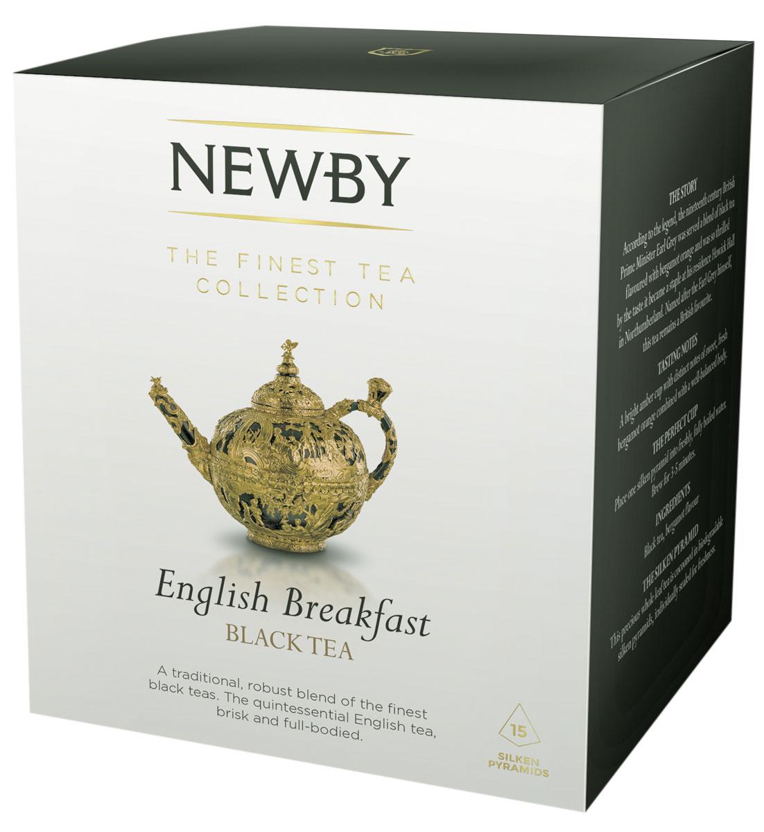 Newby English Breakfast черный чай в пирамидках, 15 шт600050ANewby English Breakfast сочетает в себе традиционный купаж черных сортов чая из Ассама, Цейлона и Кении. Чашка насыщенного янтарного цвета и богатого вкуса идеальна для начала дня. Каждая пирамидка упакована в индивидуальное саше из алюминиевой фольги для сохранения свежести чайного листа.