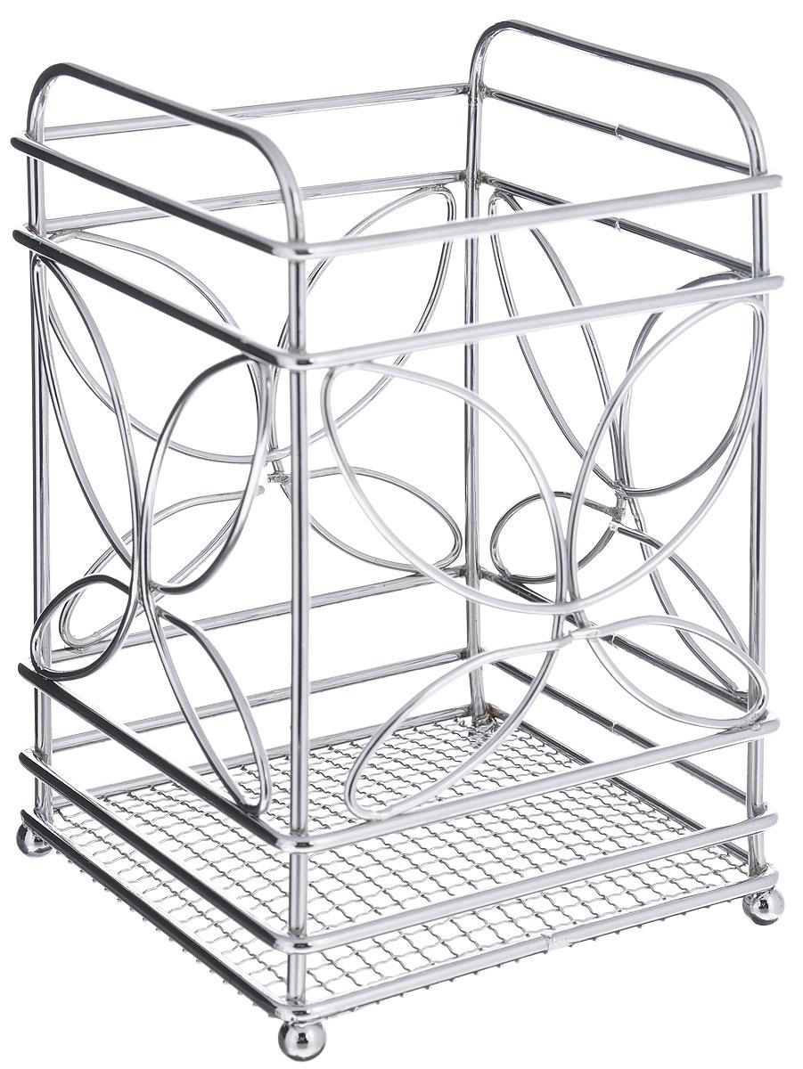 Подставка для столовых приборов Mayer & Boch20089Квадратная подставка для столовых приборов Mayer & Boch, изготовленная из хромированной стали и металла, оснащена четырьмя круглыми ножками, которые обеспечивают ей устойчивость на любой поверхности. Красивая подставка для столовых приборов выполнена в футуристическом дизайне. Она не займет много места, а столовые приборы будут всегда под рукой.