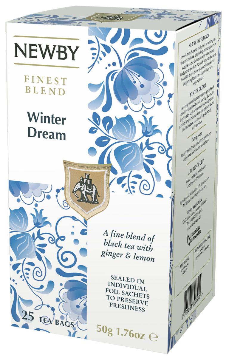 Newby Winter Dream черный чай в пакетиках, 25 шт311630Черный чай Newby Winter Dream с острыми нотками имбиря и освежающим вкусом лимона прекрасно взбодрит и освежит вас как утром, так и в любое время дня!