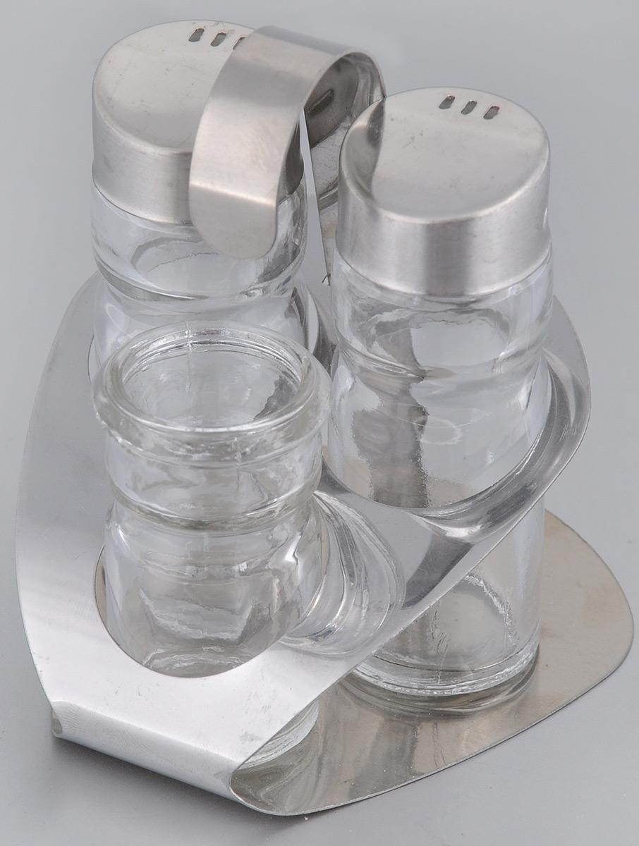 Набор для специй Mayer & Boch, 4 предмета. 92129212Набор для специй Mayer & Boch состоит из солонки, перечницы, стаканчика для зубочисток и подставки. Емкости выполнены из высококачественного стекла. Крышки емкостей, а также подставка выполнены из нержавеющей стали. Подставка оснащена ручкой. Набор для специй Mayer & Boch прекрасно оформит кухонный стол и станет незаменимым аксессуаром на любой кухне. Размер емкостей для специй: 3 см х 3 см х 8,5 см. Размер стаканчика для зубочисток: 3 см х 3 см х 6 см. Объем емкостей: 40 мл. Размер подставки: 9,5 см х 9 см х 12 см.