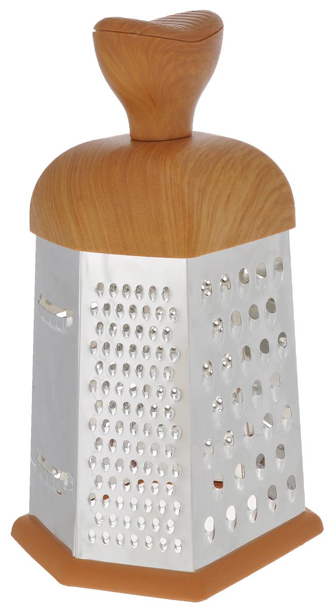 Терка Mayer & Boch, шестигранная. 88658865Терка Mayer & Boch изготовлена из высококачественной нержавеющей стали. Терка оснащена удобной ручкой, выполненной из пластика под дерево, которая не позволит изделию выскользнуть из рук. На одной терке представлены шесть видов терок - крупная, мелкая, терка для овощных пюре, фигурная, шинковка и шинковка фигурная. Специальная резиновая накладка на дне терки предотвращает скольжение. Каждая хозяйка оценит все преимущества этой терки. Благодаря этому можно удовлетворить любые потребности по нарезке различных продуктов. Наслаждайтесь приготовлением пищи с многофункциональной теркой Mayer & Boch.
