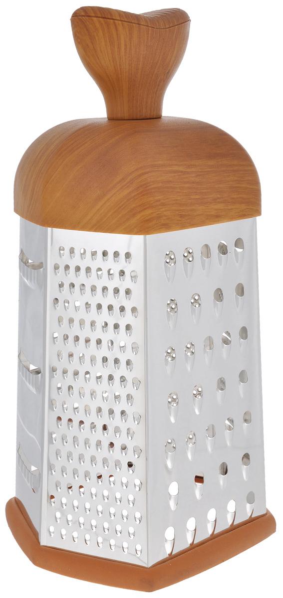 Терка Mayer & Boch, шестигранная. 88668866Терка Mayer & Boch изготовлена из высококачественной нержавеющей стали. Терка оснащена удобной ручкой, выполненной из пластика под дерево, которая не позволит изделию выскользнуть из рук. На одной терке представлены шесть видов терок - крупная, мелкая, терка для овощных пюре, фигурная, шинковка и шинковка фигурная. Специальная резиновая накладка на дне терки предотвращает скольжение. Каждая хозяйка оценит все преимущества этой терки. Благодаря этому можно удовлетворить любые потребности по нарезке различных продуктов. Наслаждайтесь приготовлением пищи с многофункциональной теркой Mayer & Boch.