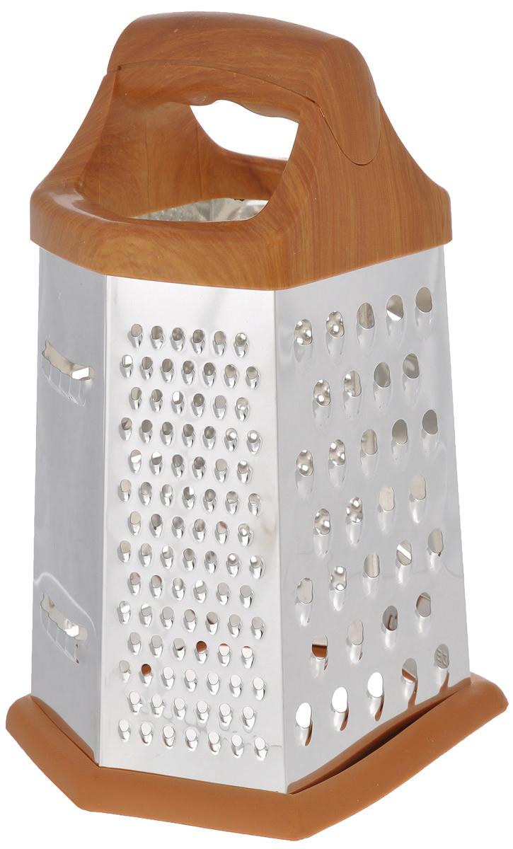 Терка Mayer & Boch, шестигранная. 88638863Терка Mayer & Boch изготовлена из высококачественной стали с зеркальной полировкой. Терка оснащена удобной ручкой, выполненной из пластика под дерево, которая не позволит изделию выскользнуть из рук. На одной терке представлены шесть видов терок - крупная, мелкая, терка для овощных пюре, фигурная, шинковка и шинковка фигурная. Специальная резиновая накладка на дне терки предотвращает скольжение. Каждая хозяйка оценит все преимущества этой терки. Благодаря этому можно удовлетворить любые потребности по нарезке различных продуктов. Наслаждайтесь приготовлением пищи с многофункциональной теркой Mayer & Boch.