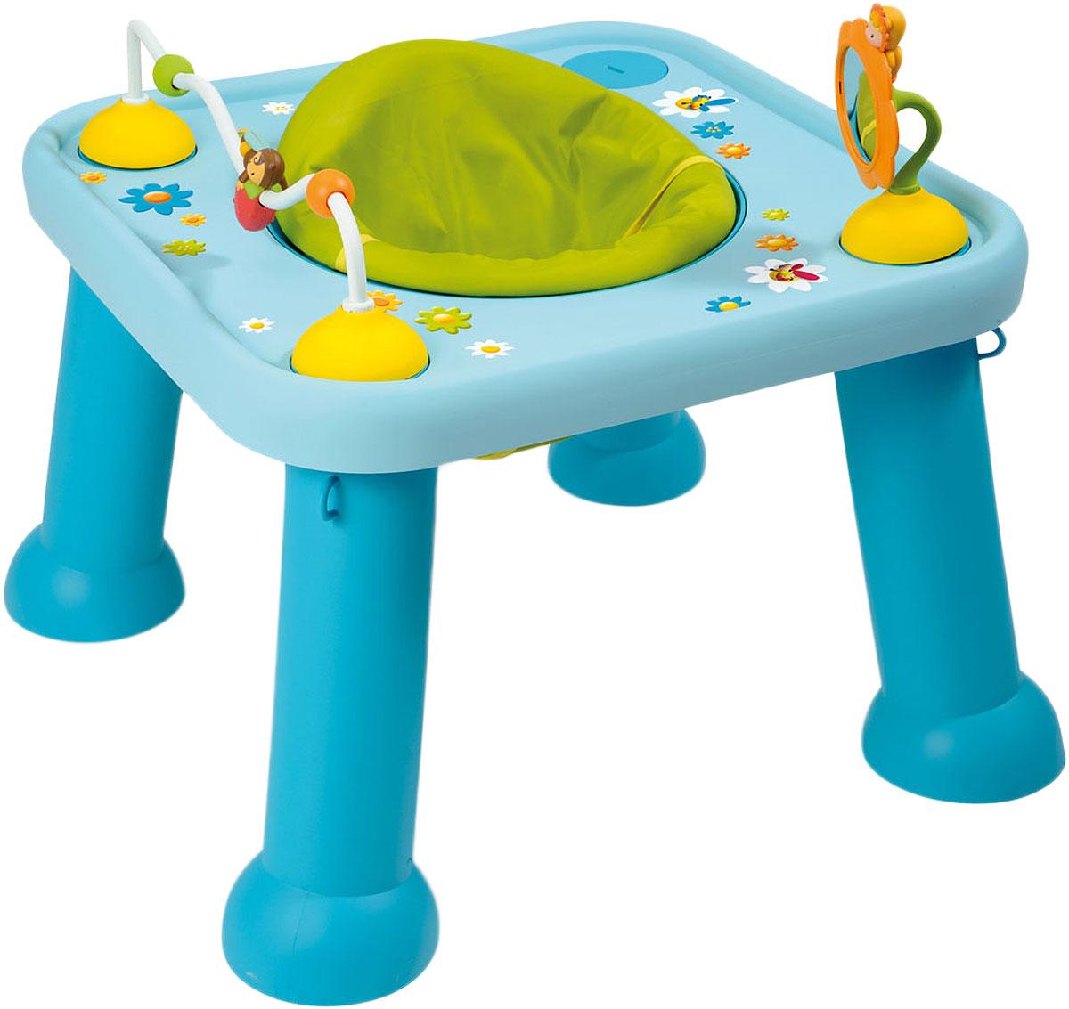 Smoby Стол-трансформер цвет голубой211310_голубойДетский стол-трансформер Smoby станет самым любимым местом для вашего малыша. На стол можно установить игрушки: зеркальце в виде цветочка и изображением Тулипа - одного из персонажей Cotoons, и лабиринт с Зумом. В центре стола предусмотрено сидение, вращающееся на 360 градусов и регулирующееся по высоте, а устойчивые ножки столика позволят не беспокоиться о безопасности ребенка. Когда ребенок подрастет, игрушки можно убрать, а место для сидения закрыть крышкой, на которой изображены Вабап, Зум, Панки и Тулип, получив при этом столик для игр. Стол-трансформер от Smoby способствует развитию у малыша мелкой моторики и любознательности. Рекомендуется для детей от 5 месяцев.
