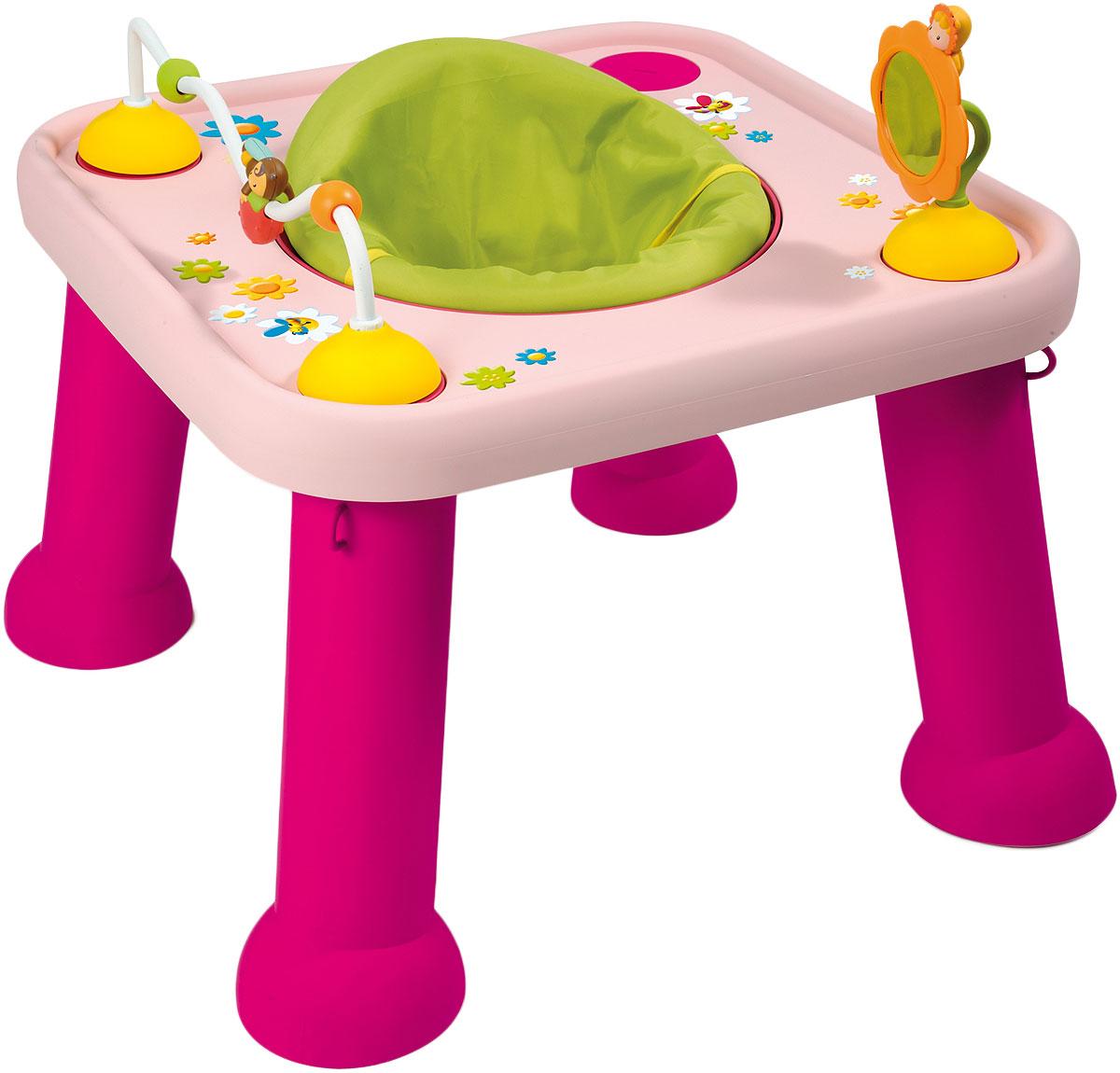 Smoby Стол-трансформер цвет розовый211310_розовыйСтульчик-трансформер с игровым столом для детей от 5 месяцев. Удобный стульчик вращается на 360 градусов, что позволяет малышу играть на всей поверхности стола. На столе расположено игровое зеркальце и кривая, по которой можно передвигать бусинки. Когда ребенок подрастет, можно снять стульчик и игровые аксессуары. Тогда стол можно будет использовать для рисования и игр.