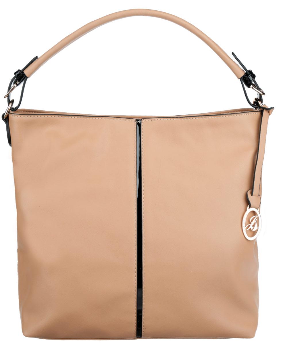 Сумка женская Jane Shilton, цвет: песочный. 19091909taupeСтильная сумка Jane Shilton выполнена из искусственной кожи, оформлена вставкой из искусственной лакированной кожи, металлической фурнитурой и подвеской с символикой бренда. Изделие содержит одно отделение, которое закрывается на застежку-молнию. Внутри изделия расположены врезной карман на застежке-молнии, карман-средник на молнии и накладной карман для телефона. Снаружи, на задней стороне сумки, расположен врезной карман на молнии. Сумка оснащена практичной ручкой, высота которой регулируется за счет пряжек. Оригинальный аксессуар позволит вам завершить образ и быть неотразимой.