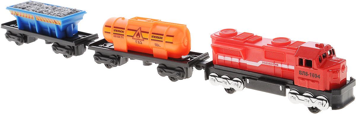 ТехноПарк Железная дорога Локомотив и 2 вагона20318-R_красный, оранжевый, синийИгрушка ТехноПарк Локомотив и 2 вагона, выполненная из пластика и металла, станет любимой игрушкой вашего малыша. В наборе реалистичный миниатюрный локомотив красного цвета, синий открытый грузовой вагон и оранжевая цистерна с газом. Вагончики легко соединяется с локомотивом. Набор поможет вашему малышу почувствовать себя машинистом настоящего грузового поезда. Ваш ребенок будет часами играть с этой игрушкой, придумывая различные истории. Порадуйте его таким замечательным подарком!