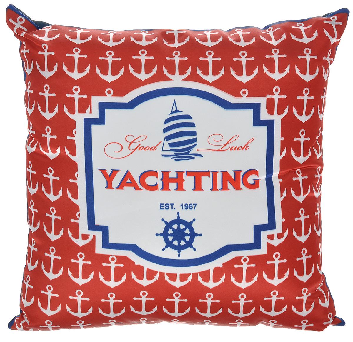 Подушка декоративная GiftnHome Yachting, 35 см х 35 смPLW-35 YachtingДекоративная подушка GiftnHome Yachting станет прекрасным украшением интерьера помещения. Наволочка выполнена из атласа, внутри - наполнитель из мягкого холлофайбера. Подушка оформлена красивым принтом в морском стиле. Сзади расположена молния, которая позволяет легко снять и постирать чехол.