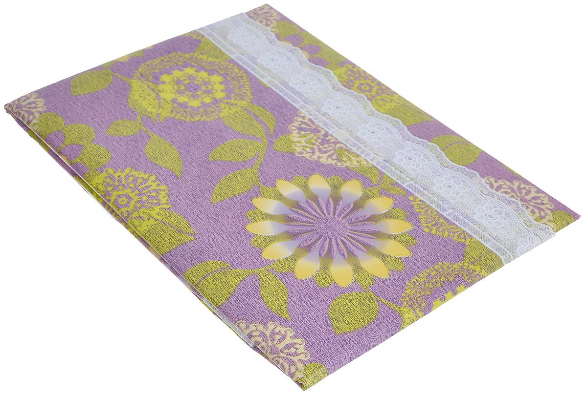 Скатерть виниловая Home Queen, прямоугольная, цвет: фиолетовый, желтый, 107 см х 152 см51537_фиолетовый, желтые цветыВеликолепная прямоугольная скатерть Home Queen, выполненная из винила на нетканой основе с тиснением, органично впишется в интерьер любого помещения, а оригинальный дизайн удовлетворит даже самый изысканный вкус. Ажурный край скатерти придает ей оригинальность и своеобразие. Скатерть водонепроницаема, служит для защиты поверхности и для сервировки стола. В современном мире кухня - это не просто помещение для приготовления и приема пищи; это особое место, где собирается вся семья и царит душевная атмосфера. Кухня - душа вашего дома, поэтому важно создать в ней атмосферу уюта. Скатерть легко чистится, ее достаточно протереть влажной салфеткой.