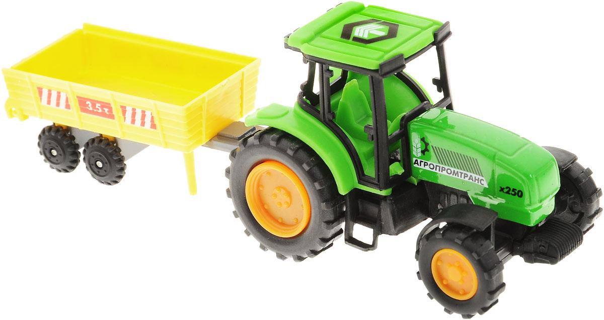 ТехноПарк Трактор Агропромтранс х250 с телегой20219-R_телега, 3.5 тТрактор ТехноПарк, изготовленный из прочного безопасного материала, станет любимой игрушкой вашего малыша. Игрушка представляет собой модель трактора зеленого цвета и прицеп в виде телеги желтого цвета. Прицеп может с легкостью отсоединяться от трактора. Трактор отлично подойдет для игр ребенка дома или на свежем воздухе. Ребристые колеса трактора обеспечивают прочное сцепление с дорогой, не давая скользить технике по полу. Удивите своего маленького водителя новой современной техникой! Такая игрушка, несомненно, обрадует малыша и принесет ему уйму ярких впечатлений. Ваш ребенок сможет прекрасно провести, воспроизводя сельскохозяйственные работы. Собери целую коллекцию техники ТехноПарк!