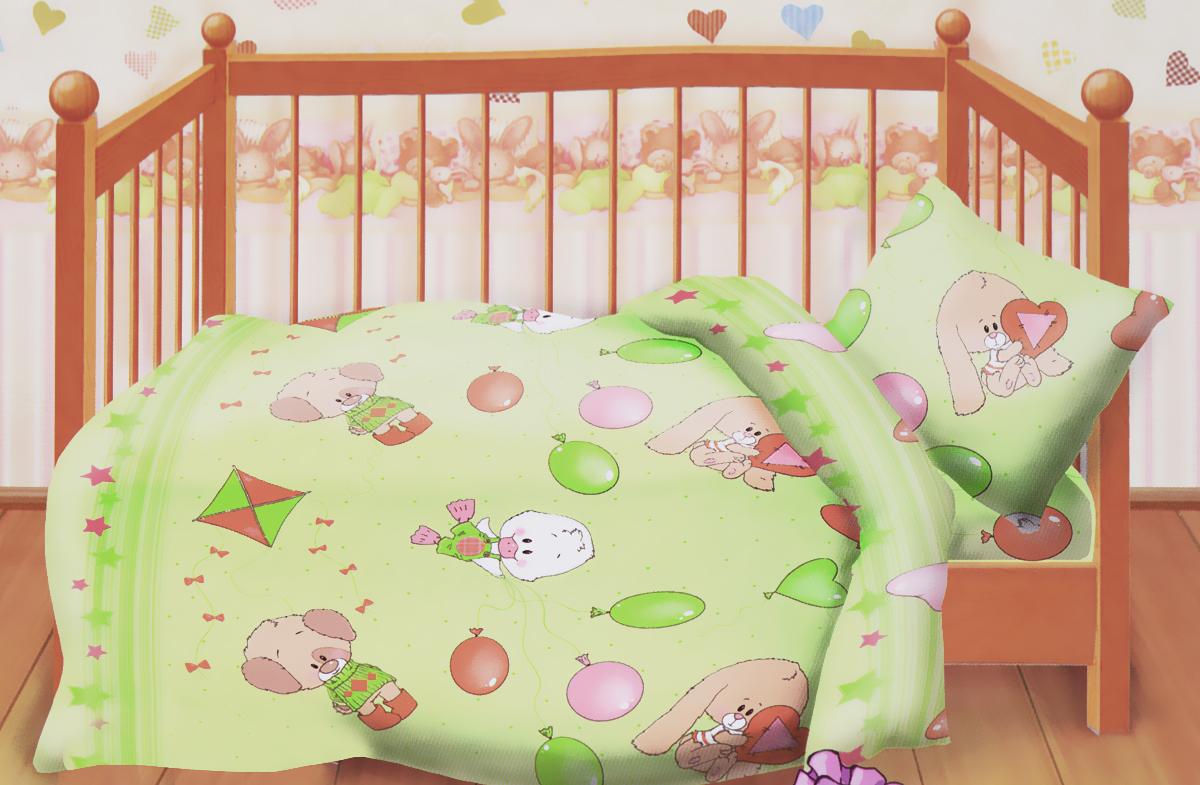 Кошки-мышки Комплект детского постельного белья Веселые друзья цвет салатовый249347Комплект детского постельного белья Кошки-мышки Веселые друзья, состоящий из наволочки, простыни и пододеяльника, выполнен из натурального 100% хлопка. Пододеяльник оформлен рисунком в виде утят, зайчиков и мишек. Хлопок - это натуральный материал, который не раздражает даже самую нежную и чувствительную кожу малыша, не вызывает аллергии и хорошо вентилируется. Такой комплект идеально подойдет для кроватки вашего малыша. На нем ребенок будет спать здоровым и крепким сном.